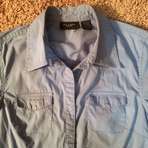 At Last short-sleeved button-down shirt top